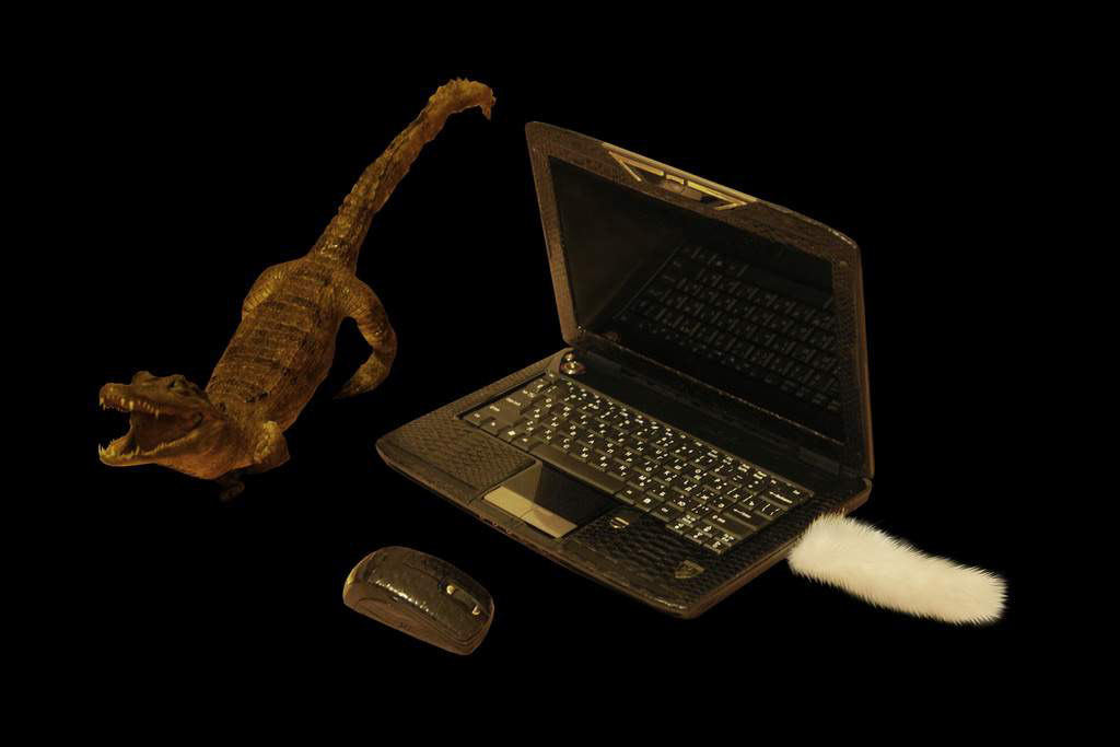 Laptop MJ Cobra Leather Edition - Cobra & Boa Skin with Gold & Sapphire (with USB Flash Drive White Mink)
